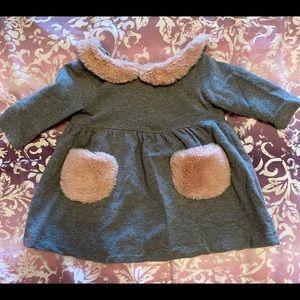 IL GUFO baby girl cotton faux fur dress sz 6 mnths